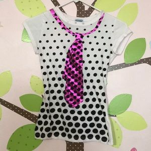 Junior Girls Size S polka dot tie t shirt